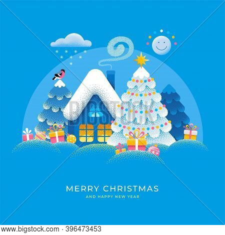 Merry Christmas And Happy New Year Greeting Card. Cute Xmas Story, Magic Winter Snowy Landscape With