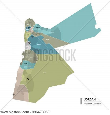 Jordan Higt Detailed Map With Subdivisions. Administrative Map Of Jordan With Districts And Cities N