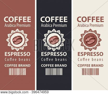 Set Of Coffee Labels For Coffee Beans. Vector Labels With A Realistic Coffee Bean In Sunflower, Barc