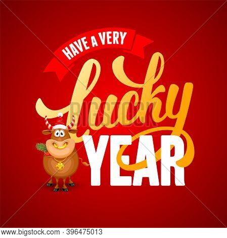 Cute Cheerful Cartoon Ox, Which Chewing Spruce Branch, Symbol New 2021 Year By Eastern Calendar, And