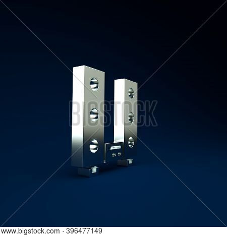 Silver Home Stereo With Two Speaker S Icon Isolated On Blue Background. Music System. Minimalism Con