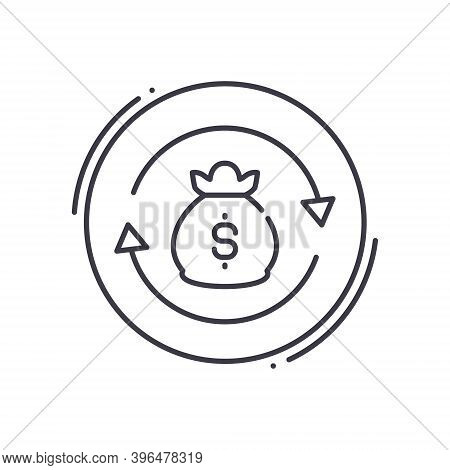 Financial Turnover Icon, Linear Isolated Illustration, Thin Line Vector, Web Design Sign, Outline Co
