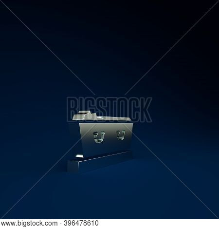 Silver Open Coffin With Dead Deceased Body Icon Isolated On Blue Background. Funeral After Death. Co