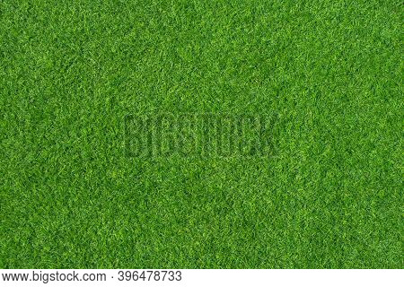 Outdoor Gardening Design : Top View Of Green Artificial Grass In Outdoor Garden.