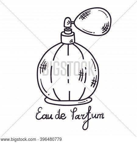 Fragrance Perfume Bottle Line Doodle Vector Illustration