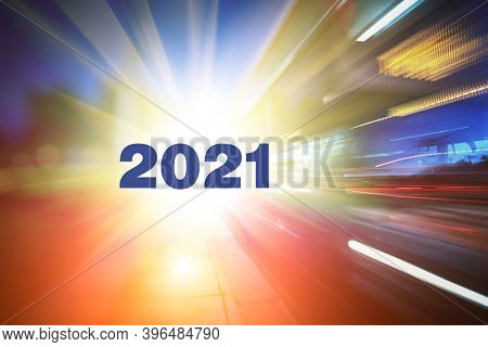 New 2021 year on abstract futuristic background