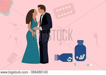 Birth Control Pill Concept.world Contraception Day. Prevention Hiv.couple Inloved, Wanted To Kiss.sp