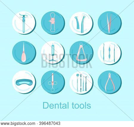 Dental Tools.12 Round Icons Set.orthodontic Prosthetics And Filling, Treatment Of Diseases Of The Or