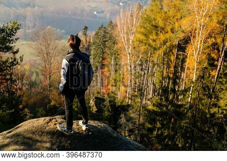 Tourist Admiring The View And Looking Far Away, Sandstone Landscape Of Bohemian Paradise, Sunny Day,
