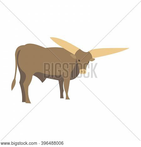Bull Watussi African. The Largest Horns In The World. Sacred Animal. Bos Taurus Indicus. Vector Illu