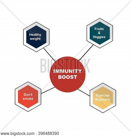 Diagram Of Immunity Boost With Keywords. Eps 10 - Isolated On White Background
