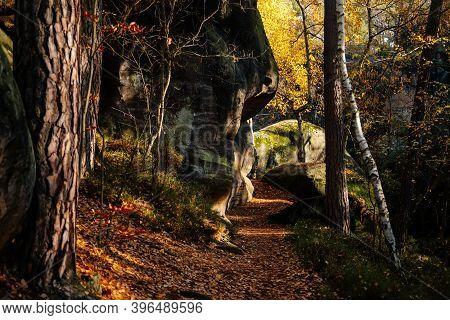 Hiking Golden Trail Of Bohemian Paradise, Sandstone Landscape Of Bohemian Paradise, Sunny Day, Rock