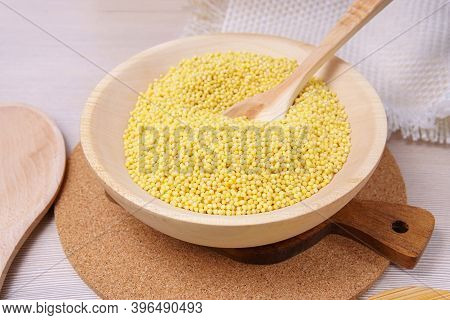 Millet Groats, Close Up. Gluten-free And Non-allergenic Grain Use In Vegetarian Cuisine. Cooking Por