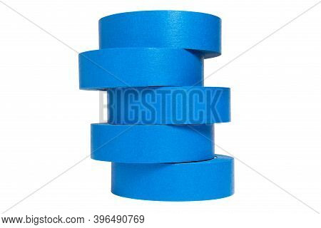 Blue Tape Isolated On A White Background, Adhesive Tape Pieces