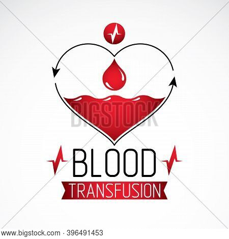 Blood Transfusion Vector Symbol Created With Red Heart Shape With Arrows And Blood Drops. Volunteer