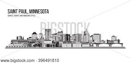 Cityscape Building Abstract Simple Shape And Modern Style Art Vector Design - Saint Paul City