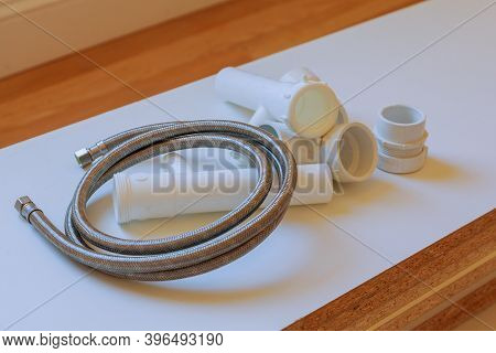 Parts Waste Water Drain Of Plastic Fittings For Plumbing On A Pvc Polymer Pipe Connection