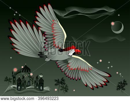Illustration Of Fantastic Parrot Flying At Night In Oriental Environment. Cover For Children Fairy T