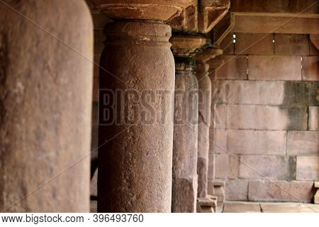 Aihole, Karnataka - August 1, 2020: Close-up View Of The Hindu Temple Pillar At Aihole.