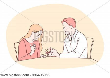 Proposal, Engagement, Couple Togetherness Concept. Young Loving Happy Boyfriend Cartoon Character Si