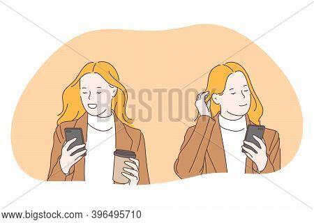 Smartphone, Online Communication, Chatting Concept. Young Business Woman Walking With Coffee And Sma