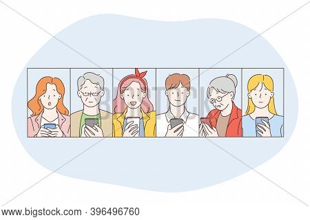 Smartphone, Online Communication, Chatting Concept. People Of Different Age Cartoon Characters Makin