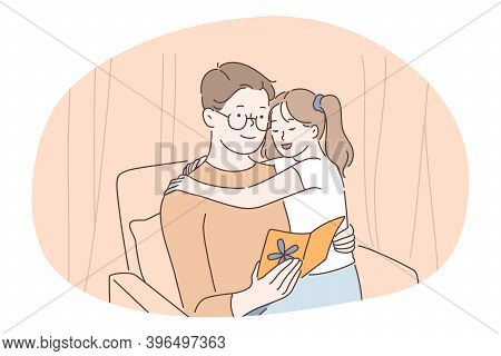 Family Care, Fatherhood, Fathers Day Concept. Man Father Daddy Coach Parent Sitting With Daughter On