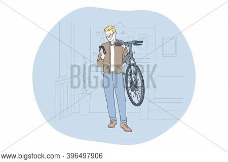 Smartphone, Online Communication, Chatting Concept. Young Man Standing With Bicycle And Smartphone I