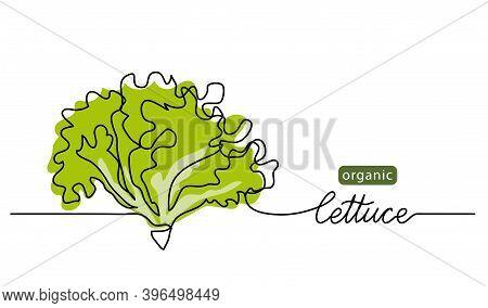 Lettuce, Green Leaves, Bunch Of Salad Vector Illustration, Background. One Line Drawing Art Illustra