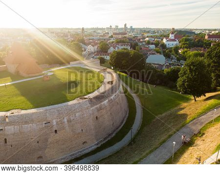 Aerial View Of The Bastion Of The Vilnius Defensive Wall, Restored Defensive Structures Originally B