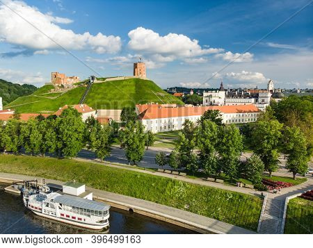 Aerial View Of Gediminas` Tower, The Remaining Part Of The Upper Castle In Vilnius. Sunrise Landscap
