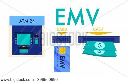 Emv Chip Payment Method Concept. Smart Credit Or Debit Card For Online Banking. Automated Teller Mac