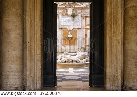 View of Marforio statue at Capitoline Museum in Rome, Italy. Marphurius talking statue of Rome.