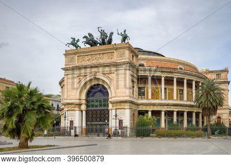 Palermo, Italy - March 9, 2020: Neoclassical Palermo Politeama Theatre or Teatro Politeama Garibaldi at Piazza Ruggero Settimo square in Sicily, Italy