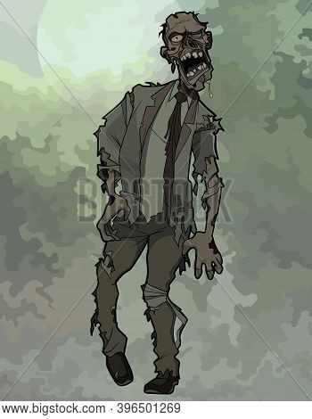Cartoon Scary Zombie Man In Torn Tattered Suit With Tie On A Gloomy Background