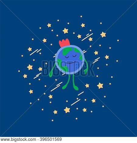 Cute Space Childrens Illustration Of The Earth. Cartoon Global Picture For Childrens Textiles Or Clo