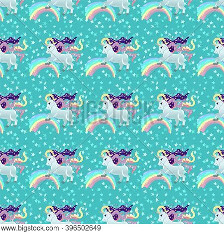 Unicorn Pattern. Pony And Stars. Vector Seamless Pattern With White Unicorns, Rainbow And Stars. Iso
