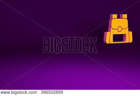 Orange Hiking Backpack Icon Isolated On Purple Background. Camping And Mountain Exploring Backpack.