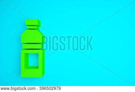 Green Bottle Of Water Icon Isolated On Blue Background. Soda Aqua Drink Sign. Minimalism Concept. 3d