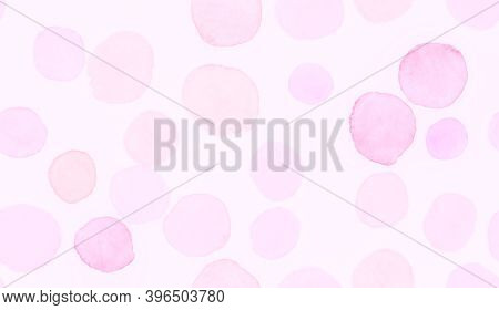 Pink Seamless Girly Backdrop. Watercolor Delicate Template. Blurred Circular Banner. Modern Circle S