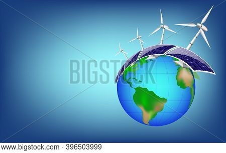 Renewable Energy Concept, Photovoltaic With Wind Turbines In Fresh Nature, Around The World.