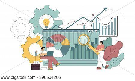 Enterprise Strategy Development Concept, Data Analytics. Vector Flat Illustration On White Backgroun