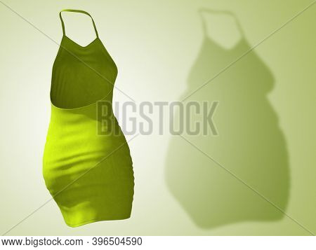 Conceptual fat overweight obese shadow female dress outfit vs slim fit healthy body after weight loss or diet thin young woman on green. A fitness, nutrition or obesity health shape 3D illustration