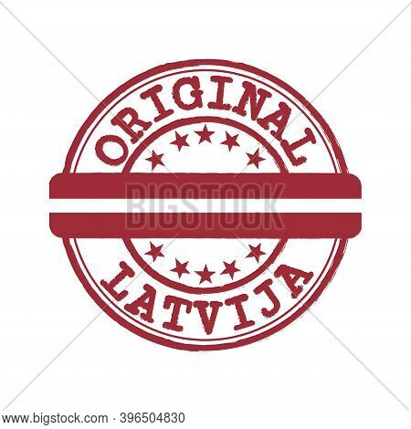 Vector Stamp Of Original Logo With Text Latvija And Tying In The Middle With Latvia Flag. Grunge Rub