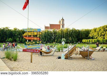 Vilnius, Lithuania - July 14, 2020: People Having Fun On City Beach On Lukiskes Square In Vilnius.