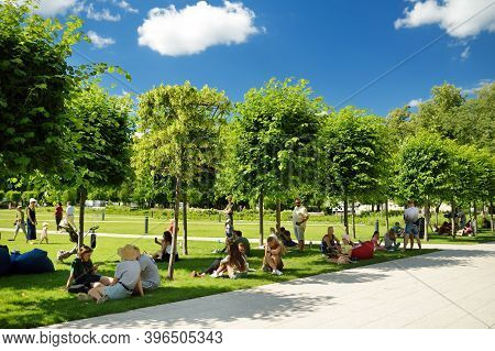 Vilnius, Lithuania - July 14, 2020: People Having Fun On Newly Renovated Lukiskes Square In Vilnius.