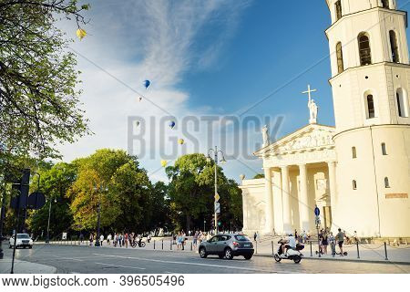 Vilnius, Lithuania - July 14, 2020: The Cathedral Square, Main Square Of The Vilnius Old Town, A Key