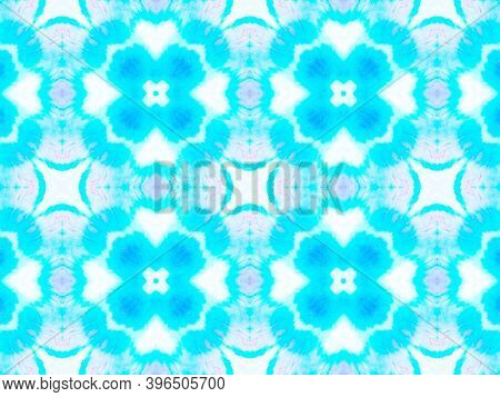 Ethnic Water Color Pattern. Aquarelle Tie Dye Vintage Abstract Ceramic. Blue And White Colors. Aquar