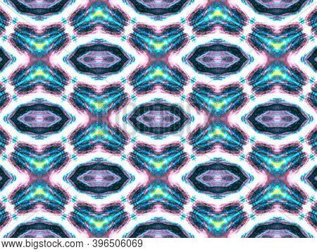 Seamless Peruvian Pattern. Vintage Aquarelle Painted Texture. Abstract Geometric Peruvian Ethnic Bac