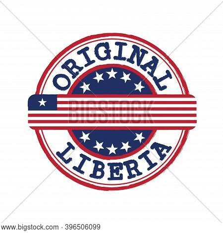 Vector Stamp Of Original Logo With Text Liberia And Tying In The Middle With Nation Flag. Grunge Rub